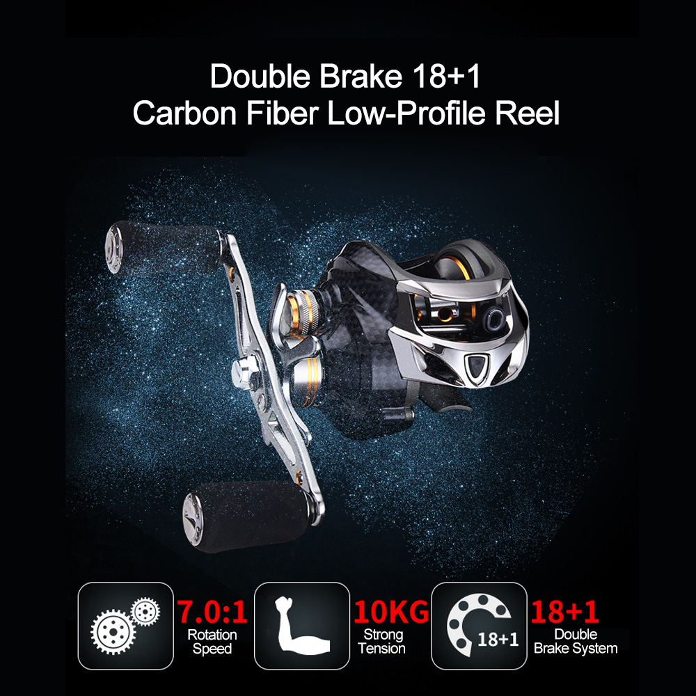 Strong Tension Left/Right-Hand Metal Carbon Fiber 18+1 Axis Double Brake Lure Fishing Low-Profile Reel Fishing Reel(China)