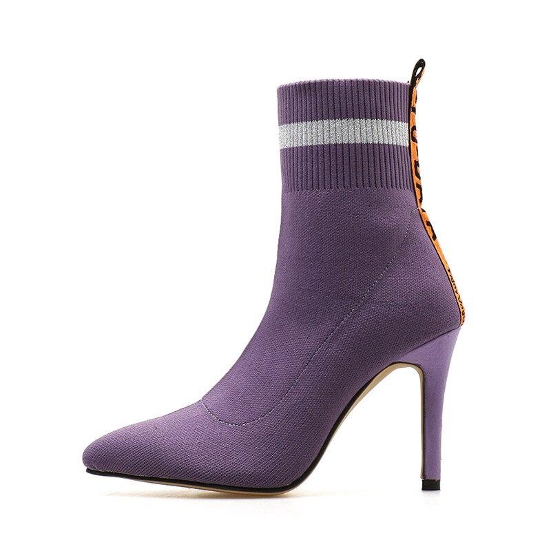 Botas Mince Stretch Automne Nouveau Chaud Blue Femmes 2018 Laine Courtes Chaussures Hauts De Chaussette purple Tricot Bottes Femme Talons Hiver 76vIfYbyg
