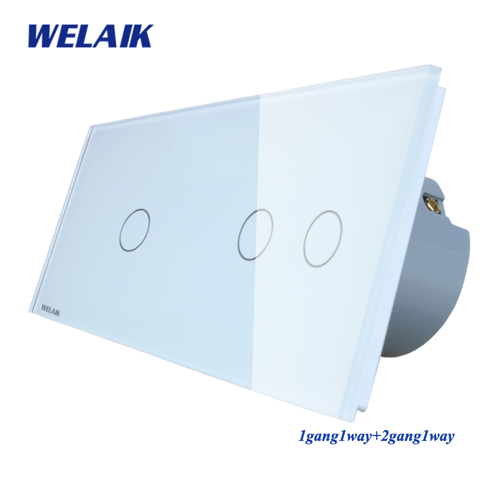 WELAIK Marque Fabricant 2 Cadre Cristal Panneau de Verre Interrupteur Mural UE Tactile Interrupteur Interrupteur 1gang1way AC110 ~ 250 v a291121CW/B
