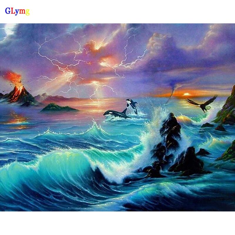 ᐂGlymg diamante bricolaje costura Bordado delfines del océano ...