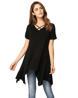 New Sexy XXXL Plus Size Tshirts Women Asymmetric T Shirt Criss Cross V Neck Short Sleeve Solid Loose Casual Tunic Top Ropa Mujer