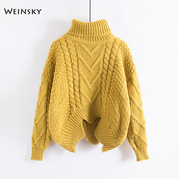 Weinsky Casual Women Knitted Thick Sweaters And PulloversLadies Autumn And  Winter 2018 Oversized Korean Sweaters Yellow Pink dc2999c5c1df