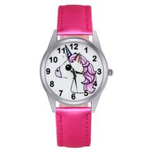 Cartoon Cute Unicorn horse style Children's Watches Kids Students girls Boys Quartz Leather strap Wrist Watch Jc60