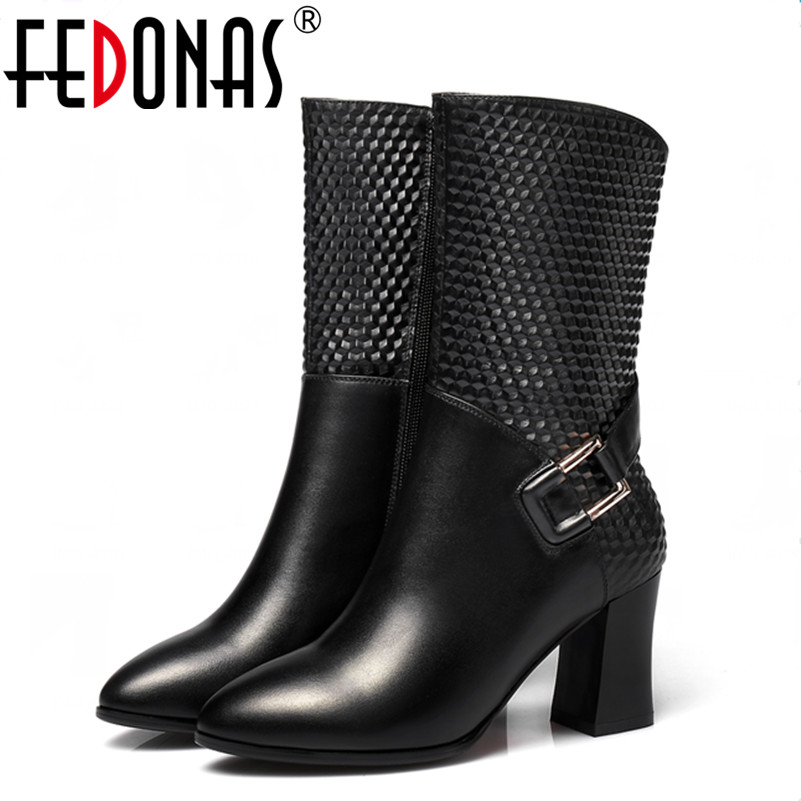 FEDONAS Top Quality Women Boots High-Heeled Genuine Leather Motorcycle Boots Autumn Winter Warm Snow Martins Boots Shoes Woman fedonas russia women boots keep warm snow boots platforms winter mid calf boots fashion solid color high shoes woman white black