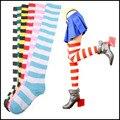 Nova tendência Listrado apertado na altura do joelho meias altas Meninas Das Mulheres de Halloween Cosplay meias feminina calcetines cortos mujer Tonsee