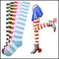 Nueva tendencia Striped tight rodilla calcetines altos Girls Mujeres de Halloween Cosplay calcetines meias feminina cortos mujer Tonsee