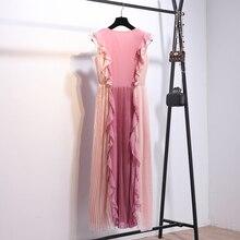 فستان طويل أنيق بليسيه بألوان صيفية مميزة