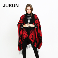 women scarf  tassel black +red plaid sweaters 2018 winter shawl designer luxury ponchos capes 190*130cm