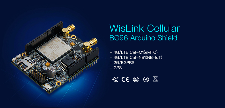 WisLink Cellular BG96 Shield simultaneously supporting 3 cellular  standards: 2G/EGPRS, 4G/LTE Cat-M1(eMTC), Cat-NB1(NB-IoT)