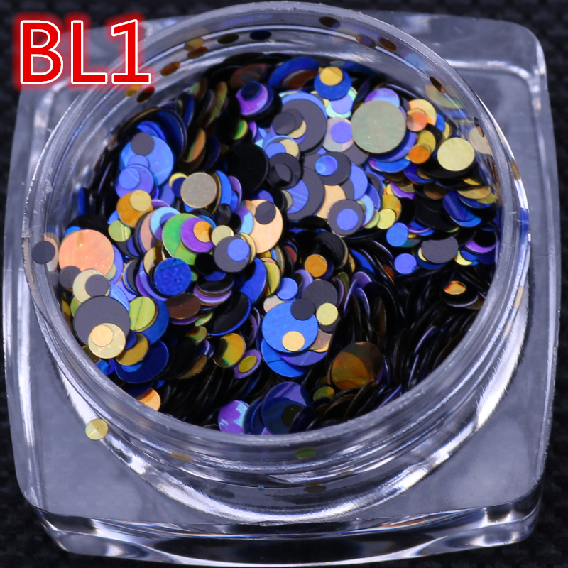 1g/ box Holographic holo 12 colors Nail Art Glitter ROUND Shapes Confetti Sequins Acrylic Tips UV Gel polish nail art decoration 12 bottles set round nail glitter sequins mermaid hexagon nails art decoration multi colors for diy manicure accessories