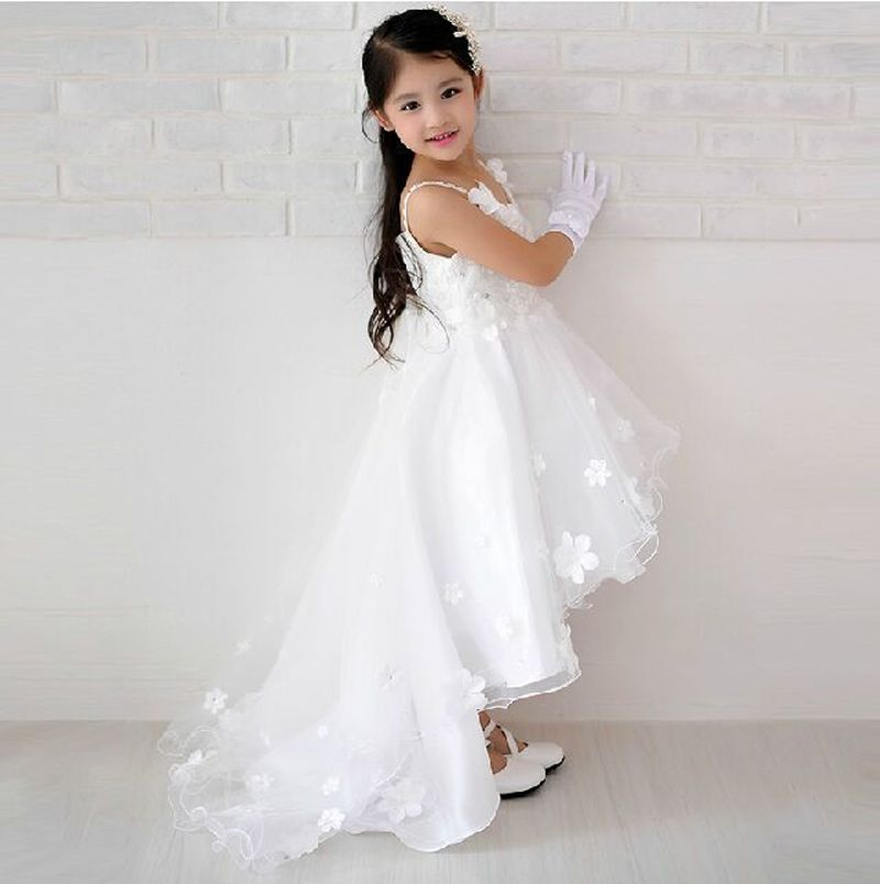 598aa02f2a2b Children Short Front Long Back Wedding Dress with Flower Lace Train ...