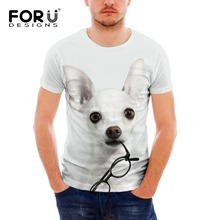 FORUDESIGNS Cute Chihuahua Printed Tops Tee Summer Short Sleeve for Men Casual Man 3d Animal Tshirt Personalized T-shirt XXL