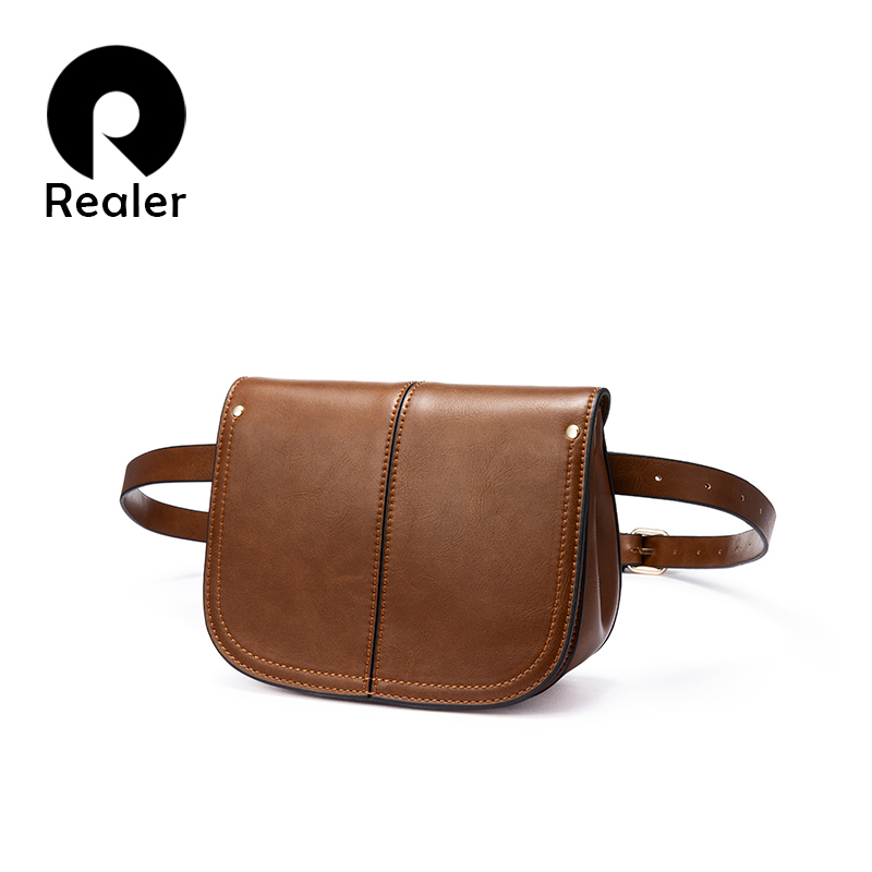 REALER Fanny Pack For Women Waist Bag Female Small Shoulder Crossbody Bag For Women 2019 Belt Bag PU Leather Waist Pack Female