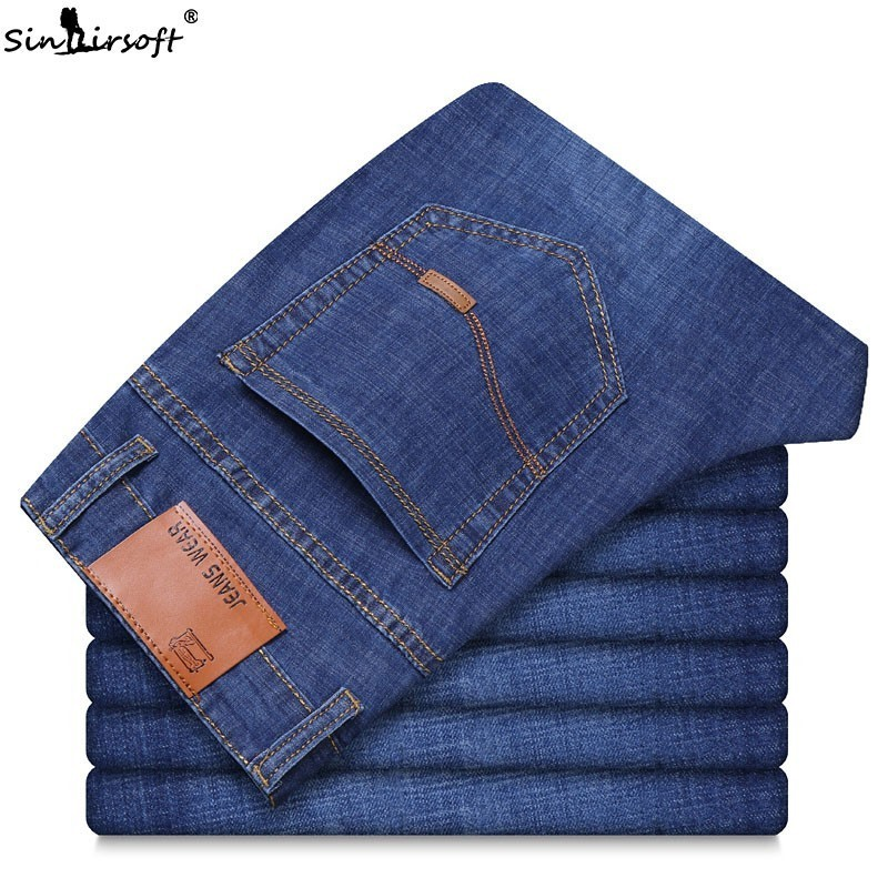 High Waist Men's Formal Stretch Denim Full Pants Slim Soild Straight Mens   Jeans   Homme Hombre Men Trousers Belted Male Clothing