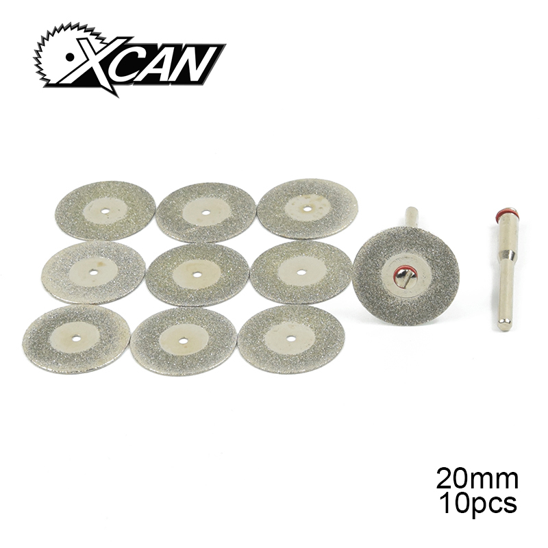 10pcs Blades+2pcs Rod 20mm Diamond Abrasive Disc Grinding Blade Disc For Cutting Glass Stone Cutting Blade