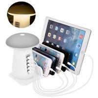USB Charger Mushroom LED Night Light Quick Charge 3.0 Hub Travel Charger 5 Port Adapter Phone Charging LED Mushroom Desk Light
