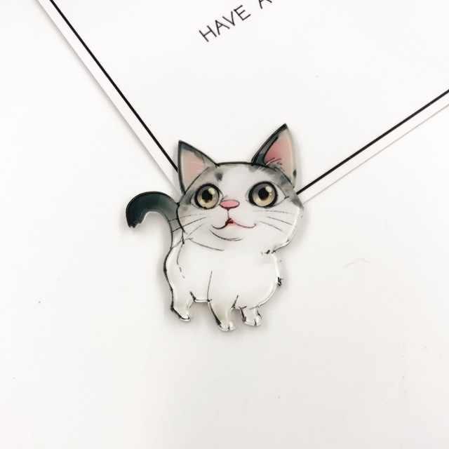 1 pcs Encantador Dos Desenhos Animados Animais Cat Dog Broche Acrílico Emblemas Mulheres Mochila Roupas Ícones Broches Pinos