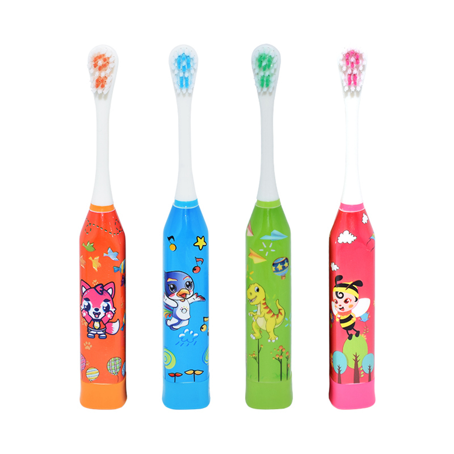 Children Ultrasound Toothbrush Electric Kids Sonic Tooth Brush Cartoon Pattern With 2pcs Replacement Tooth Brush Head Best Gift image