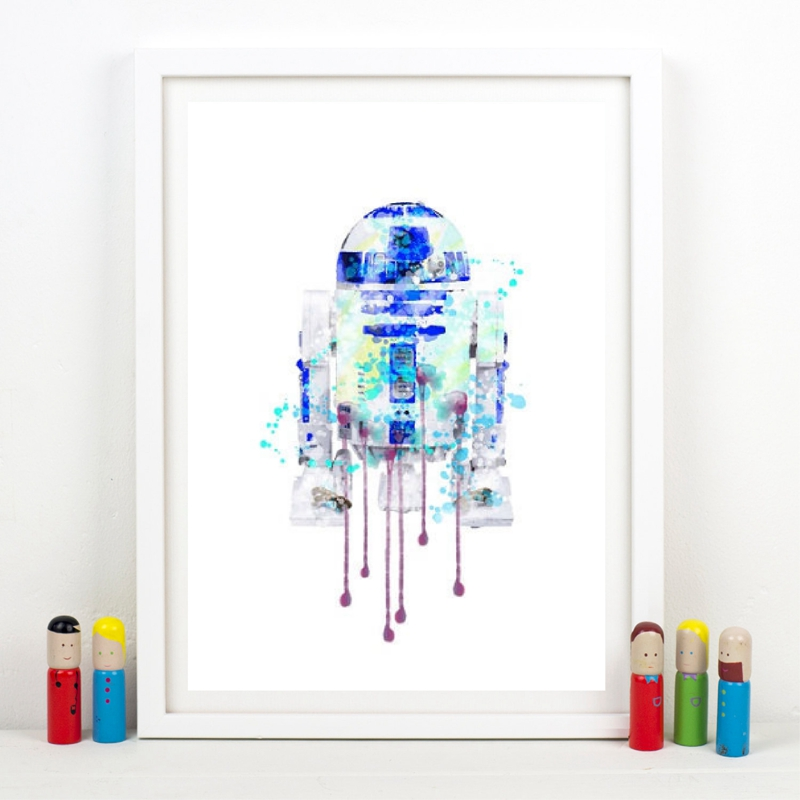 Watercolor Star Wars R2D2 Poster Wall Art Prints , Classic Movie Star Wars R2D2 Canvas Paintings Pictures Boys Room Wall Decor image
