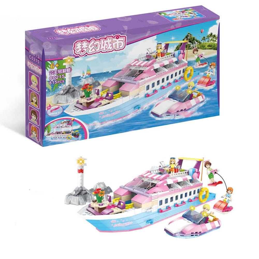 2019 New Friends Set Girl Series  Pink Dream Luxury Yacht Toys Bricks Compatible Legoiner Building Blocks for Gifts