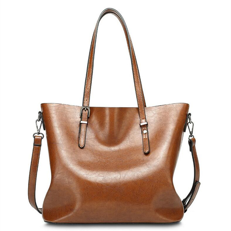 BARHEE European Vintage Tote Bag Ladies Hand Bags Women Leather Handbags Oil Leather Large Retro Shoulder Bag bolsa feminina
