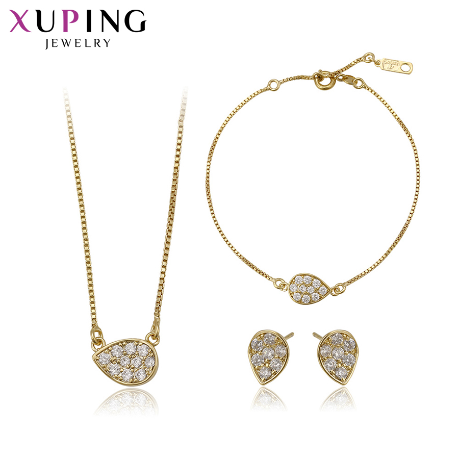 Xuping Fashion Elegant Light Yellow Gold Color Plated Set for Women Imitation Jewelry Se ...