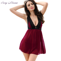 Women's Exotic Apparel Elastic Deep v Neck Backless Volvet Night Dress Sexy Night Gown Summer Sexy Lingerie Bedroom Babydoll