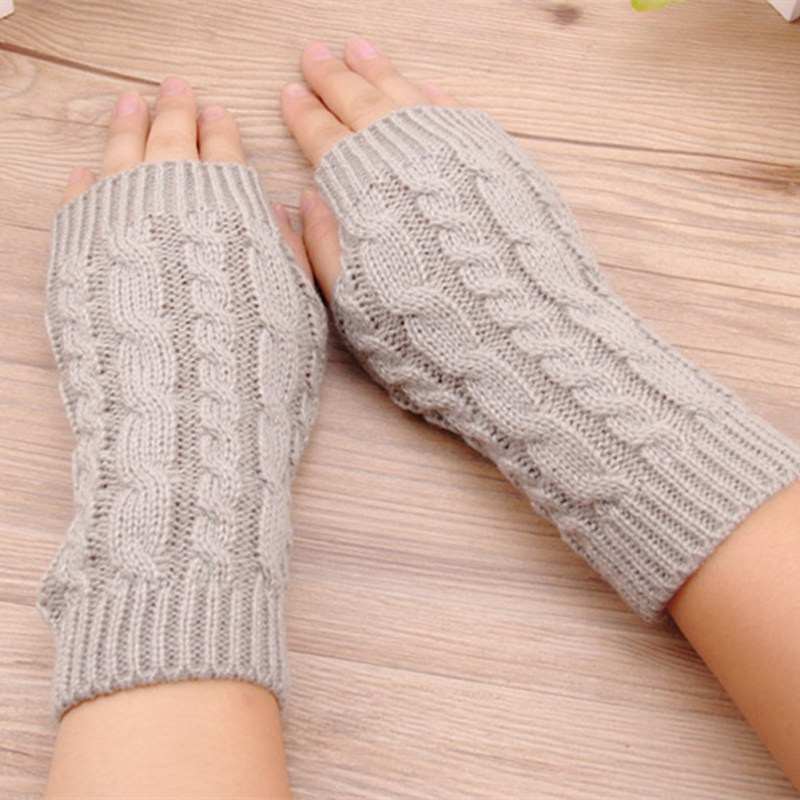 Winter Warm Arm Warmer For Women Twist Long Fingerless Knit Mitten Practical Casual Gloves Fashion Women Warm Soft Gloves