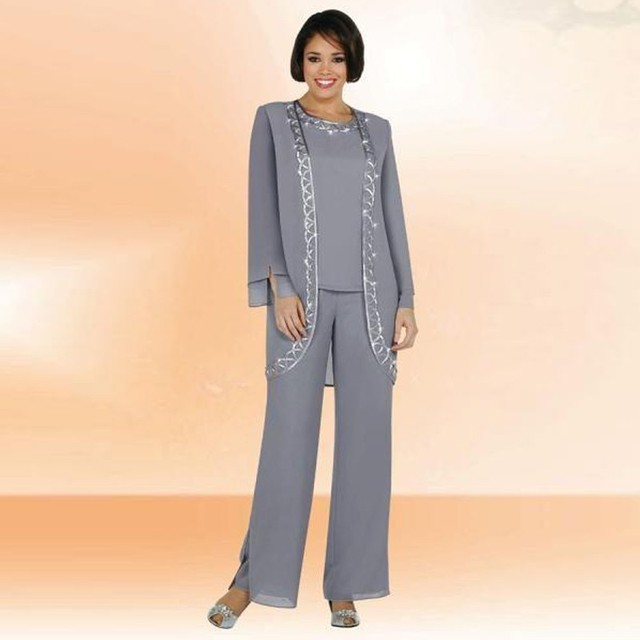 Gray Mother Of the Bride Pant Suit For Weddings Long Sleeve Women ...