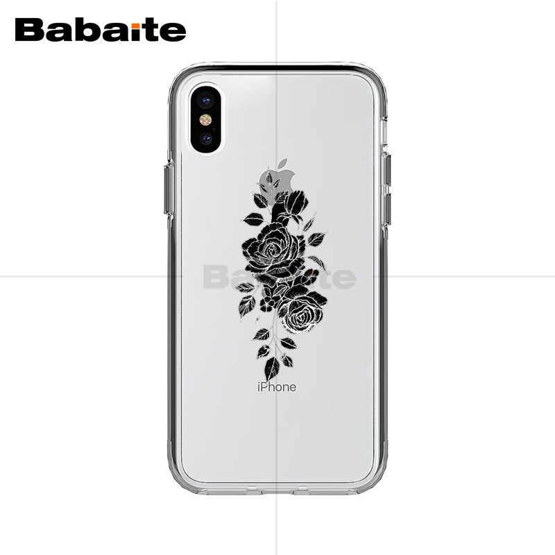 Babaite Rose ดอกไม้ซิลิโคนอ่อนโทรศัพท์ TPU สำหรับ iPhone X XS XR XsMax 10 7 7plus 8 8 PLUS 6 6s 5 5S SE 5C 11 11pro 11 PROMAX