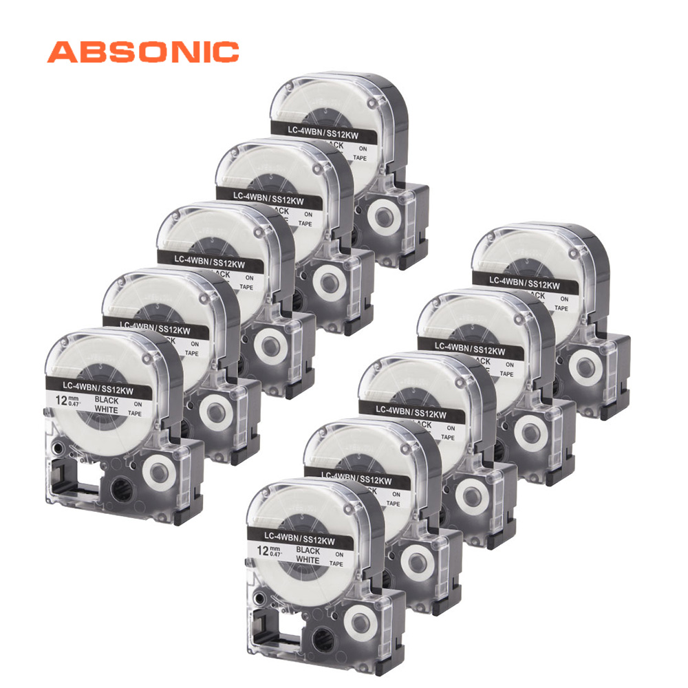 Absonic 10PCS 12mm 8m SS12KW LC 4WBN9 LK 4WBN LC 4WBN Black on White Tape For