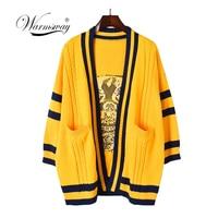 Yellow Oversized Long Cardigan harajuku Women V neck Dog Jacquard Loose Twist Knitted Open Stich Outwear Long Sweater C 343