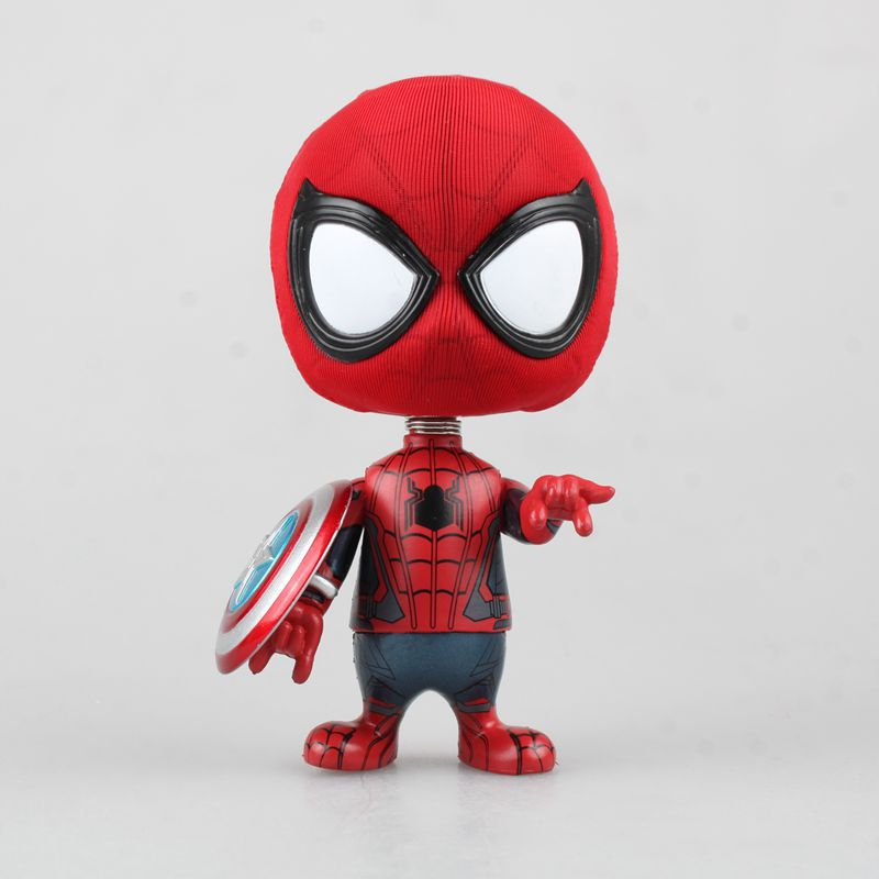 Anime Superhero The Amazing Spider-man COSBABY Wacky Wobbler Bobble Head PVC Action Figure Collectible Model Kids Toys Doll 10CM funko tales of the rat fink wacky wobbler bobble head pvc action figure toy 8 colors