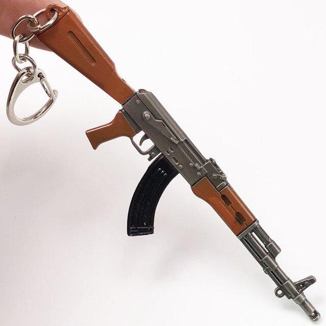 fcc276f7bc 12cm PUBG 7.62mm Weapon Rifle AKM Model Key Chains AK 47 Toys Gun Keychains  llaveros chaveiro sleutelhanger Key Ring Keyring