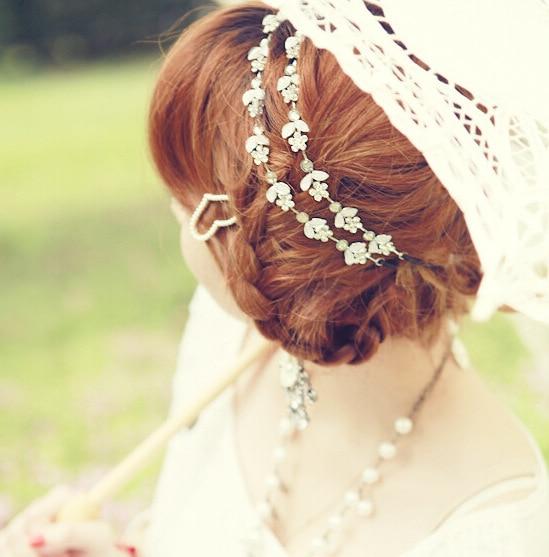 2016 Fashion Womens Hot New Silver Rhinestone Crystal Flowers Elastic Hair Band Headband Hair Accessories Bride Weeding Jewelry