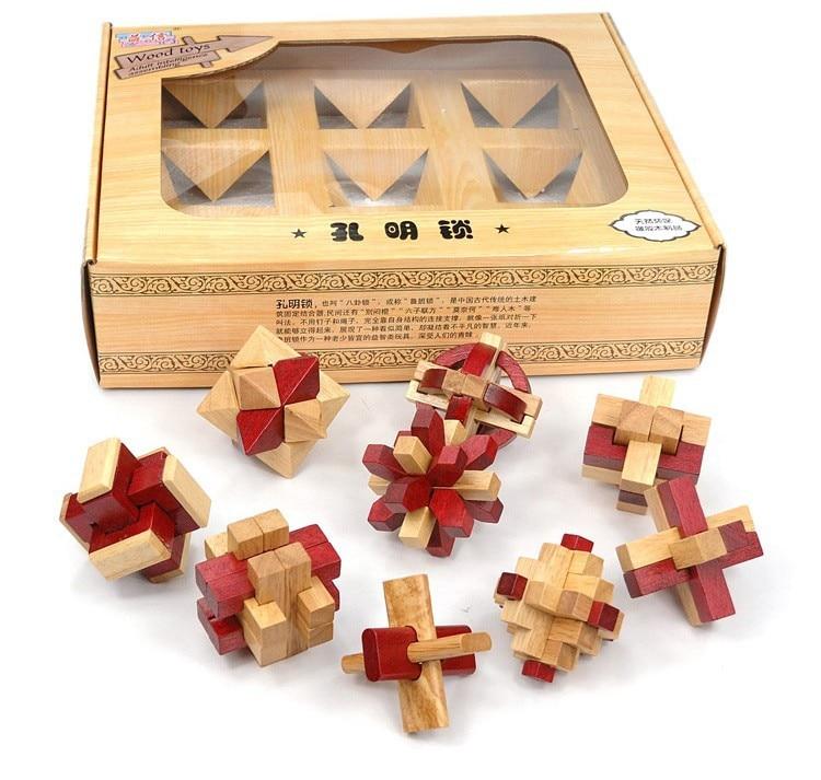 Lot de 9 pièces En Bois Classique Burr Puzzles Casse-tête Jeu Jouets pour Adultes Enfants Enfants