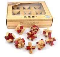 Set of 9PCS Classic Wooden Burr Puzzles Brain Teaser Game Toys for Adults Children Kids