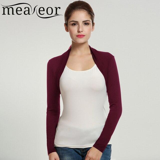 Meaneor Merk Vest Vrouwen Korte Bolero Tops Herfst Casual Fashion Lange Mouwen Solid Elastische Stof Open Stitch Zwart Vest