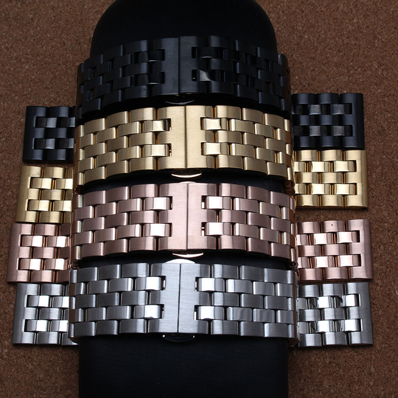 Ny ankomst mænd lady 20mm 22mm 24mm Watchband stropper Guld Rose guld Sort sølv rustfrit stål Solid Links Watch Band armbånd