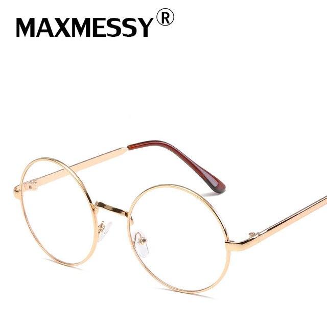 b4b2736790ddd MAXMESSY Vente Chaude Alliage Solide Coréenne Lunettes Cadre Or Monture de  lunettes Vintage Lunettes Rondes Lunettes