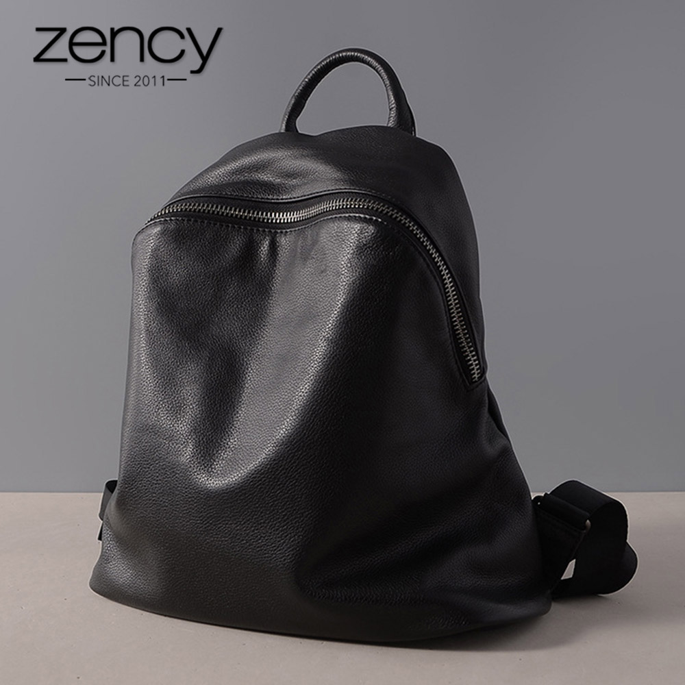 Zency Cowhide 100% Genuine Leather Handmade Women Backpack Vintage Travel Bags Preppy Style Schoolbag For Girls mochila feminina leather backpack women preppy style school bags casual rivets women rucksack travel satchel bags mochila feminina