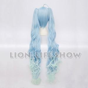 Image 2 - VOCALOID 2017 Snow Miku Hatsune Star Princess Long Blue Curly Wavy Cosplay Wig