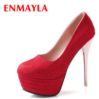 ENMAYLA Glitter Platform High Heels Shoes Women Pump Round Toe Wedding Shoes Woman Party Red Gold Silver Ladies Shoes Size 43