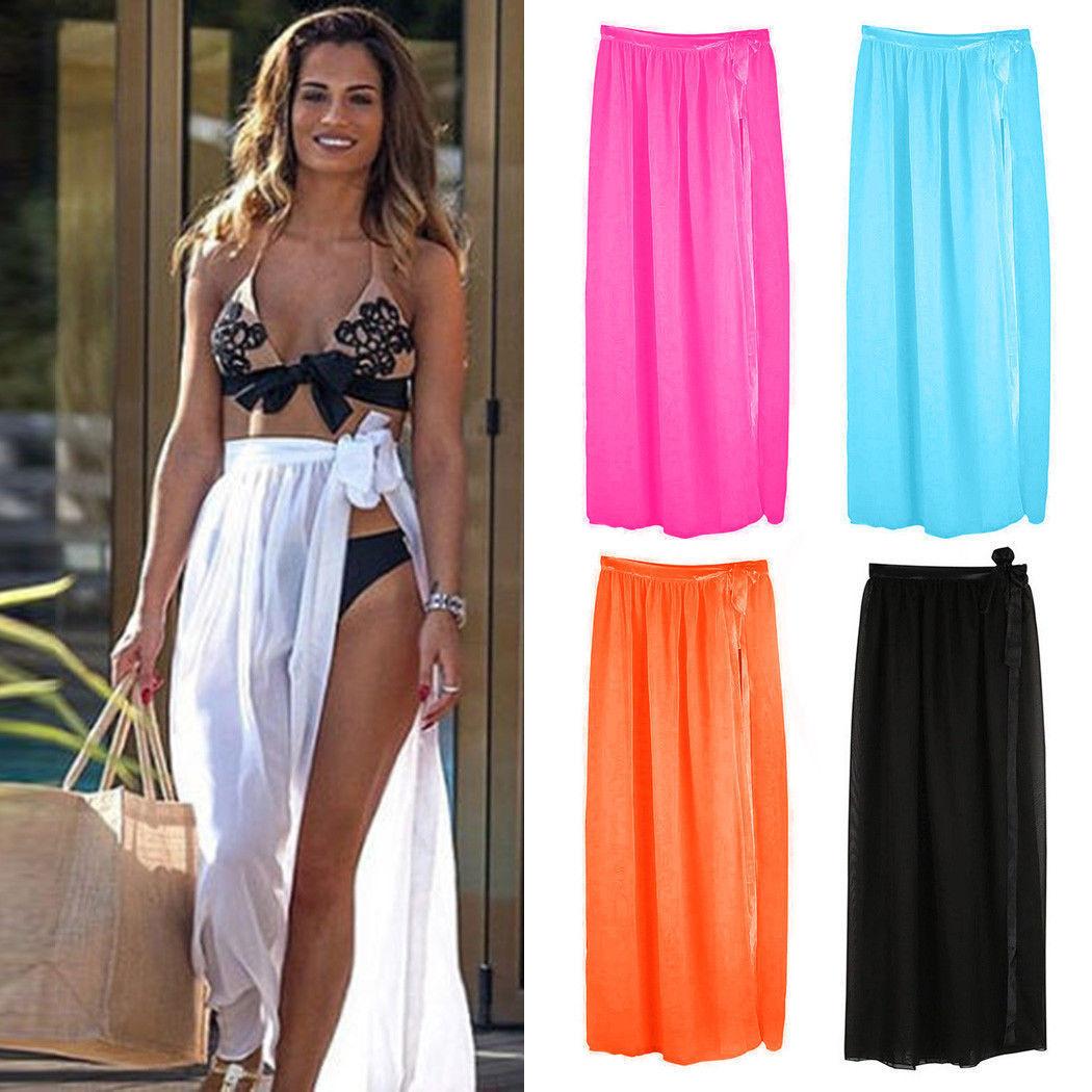 2019 Summer Sexy Women Bikini Cover Up Swimwear Sheer Beach Maxi Wrap Bandage Split Skirt Sarong Pareo Casual Cover-up Beachwear