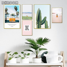Nordic Landscape Painting Decorative Seaside Pineapple Posters and Prints Cactus Inspirational Quote Wall Art Home Decor