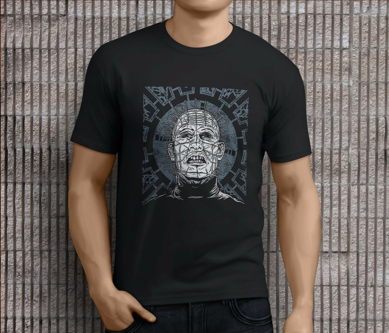 New Popular HELLRAISER PINHEAD Horror Thriller Movie Men's Black T-Shirts S-3XL image