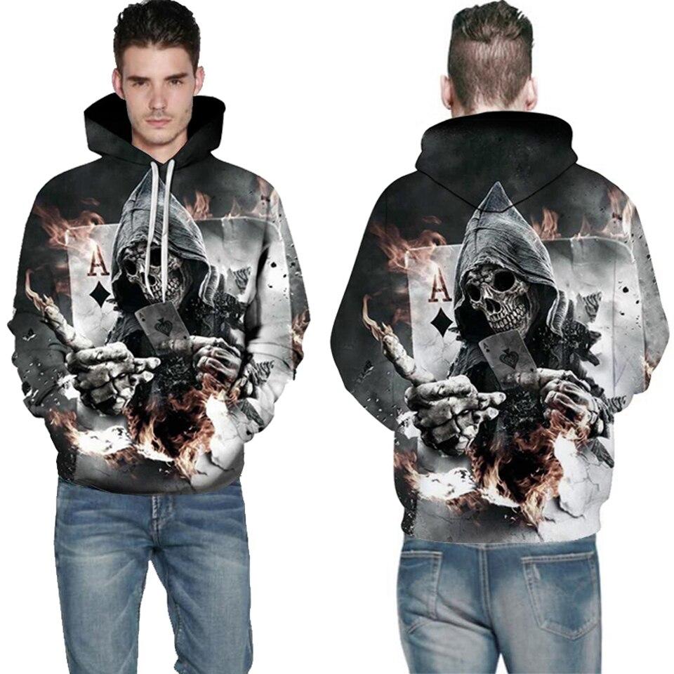 Skull Poker Hoodies sudaderas hombres mujeres 3D Pullover Funny Rock Hooded chándales invierno Moda hombre chaquetas Casual Outwear