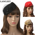 Beautiful Noble Womens Vintage Pillbox Hats Fascinator Wool Pillbox Hat Headband Party Wedding Dancing Fedora HatsA067