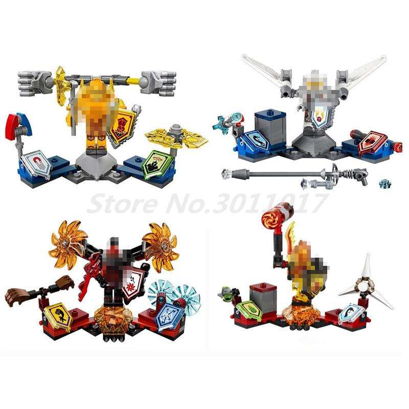 Lepin 14014 4sets Super Heroes NEXus Future Knights Building Blocks Compatible 70336 Brick Educational Toys For Children Gifts lepin 14004 knights beast master chaos chariot building bricks blocks set kids toys compatible 70314 nexus knights 334pcs set
