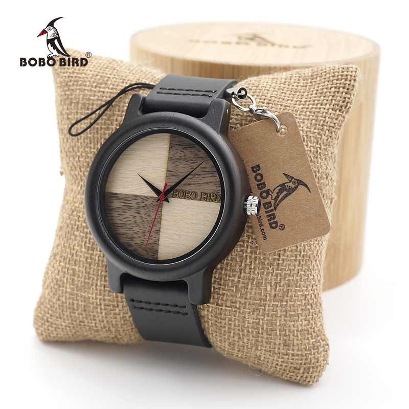 BOBO BIRD Ebony Wooden watches Quartz Men's Dress Wristwatch Analog Japanese Movement clock With leather band In wood Box bobo bird full round vintage ebony wood case men watch with wood face with ebony wood strap japanese movement quartz in gift box